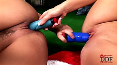 Hot blonde and brunette MILF fuck each other using vibrating sex toys