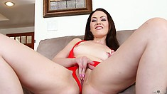 Dazzling babe seductively reveals her superb ass, tiny tits and her sweet shaved cunt