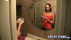 Cute teen leaves the door open while masturbating in the bathroom