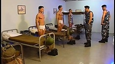 Army soldiers in the barracks jerk off at night and get the sergeant in the day