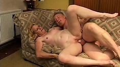 The horny mature wildly bounces on his stiff rod before getting banged doggy style