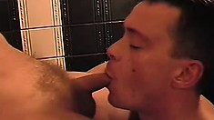 Horny massage therapist invites in a coworker to make it a gay threesome