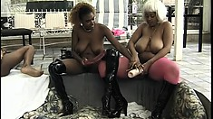 Amateur black lesbians are on the patio munching twat and toying holes