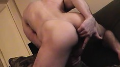 Hot stud Jason drills his anal hole with a dildo and jerks his big dick to climax