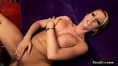 Stacked blonde Barbie Cummings sucks a big dick before it invades her needy holes