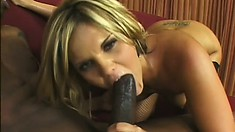 McKenzie Pierce struts her stuff before she gobbles up and fucks a black cock