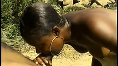 Satisfaction is in the sun outside and gives her man a treat with head