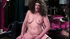 Horny old lady with big boobs sucks and fucks the customer's big cock