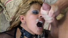 Natural born slut will do anything to please a pair of cocks