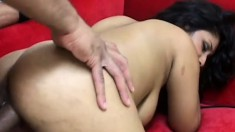 Curvy Indian hottie gets taught a brutal lesson in pussy drilling