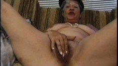Fat granny with a hairy cunt gets plowed balls deep on the couch
