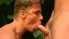 Intense lovers Mack Reynolds and Eric York head outside to fuck ass