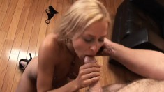 Insatiable blonde milf seduces a muscled stud and fucks his hard cock