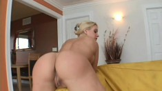 This babe's bubble butt bounces as she rides a pole of dark meat