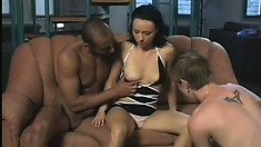 Intrepid hooker with big mouth is sucking big cocks in non-stop fashion