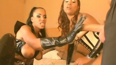 Two black girls, one white dick and one babe gets a dick and strapon DP fuck