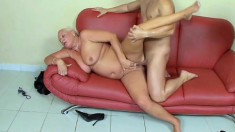 Voluptuous mature blonde sucks a long dick and gets her fiery holes pounded hard