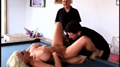 Busty blonde with a sweet ass gets fucked hard on the pool table in front of her man