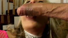 Stunning blonde with awesome big tits needs to get her ass nailed hard