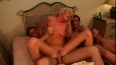 Nasty blonde Hillary Spank invites two studs to drill her needy holes