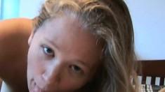 Playful blonde tart loves teasing her lover's prick with her feet
