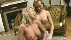 Natural big tit Mena Nina gets it on with her blonde lesbian lover
