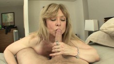 Blonde mature bimbo Nina Hartley loves to taste some young man meat