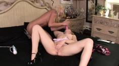 Tracey and Leya uses their favorite toys to give each other pleasure