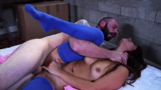 Marvelous brunette Isabella has a large cock exploring her tight ass