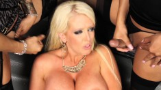 Alura Jenson is surrounded by lady dick as these shemales take it to her