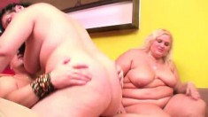 Fat duo in a threesome of them getting both their holes fucked
