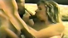 Sexy brunette chews on his black bone, gets nailed and swallows
