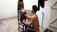 Ebony Jasmine gives Antonio head and hops on to get her twat drilled