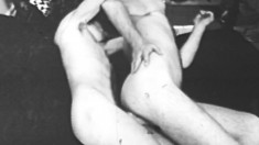 Two Horny Stallions Fuck Each Other In The Ass In This Hot Vintage Action