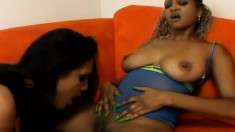 A couple of ebony starlets can't get enough of having all-girl fun