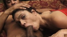 Horny Latina is being used like a fuck toy by two dicks in a threesome
