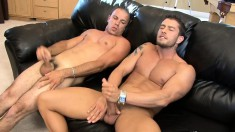 Hot guy sucks his friend's dick before they please themselves together