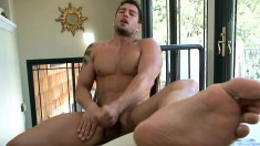 Handsome guy loves to make himself cum hard first thing in the morning