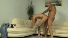 Inked horny daddy seduces and fucks his lusty young neighbor