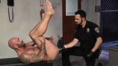 Horny Cop Gets Naked For A Round Of Mutual Ass Fisting With A Tattooed Stud