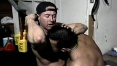 Two Muscled Mechanics Indulging In Hardcore Anal Action In The Garage
