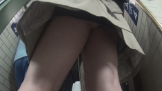 Flashing upskirt in public