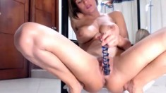 Big titted blonde milf solo toying
