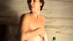Washing big natural tits