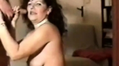 Hot Brunette sucks old cock for nice cum shot.