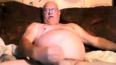 Old Man jerks off and cums